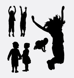 kids happy and healthy silhouette vector image