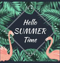 summer promo sale banner flamingo palm leaves vector image