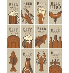 business cards on beer and snacks vector image