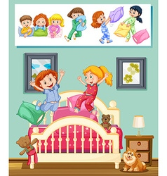 Kids at slumber party in bedroom vector image vector image