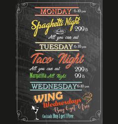 restaurant food menu design with chalk board vector image