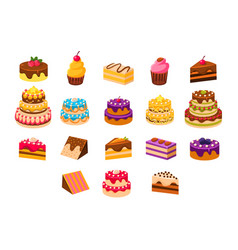 cakes sett sweet dessetrts baked cakes and vector image