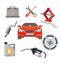 car service set red automobile and working vector image vector image