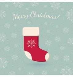 Christmas sock on winter backdrop vector image vector image