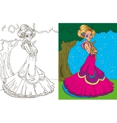 Colouring Book Of Princess In Forest vector image vector image
