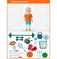 elder men with set of sport equipment vector image