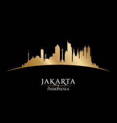 jakarta indonesia city skyline silhouette black vector image vector image
