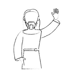 jesus christ devotion sacrifice sketch vector image vector image