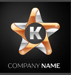 Letter k logo symbol in the colorful star on black vector