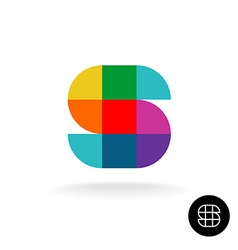 Letter S colorful rainbow square and sector vector image vector image