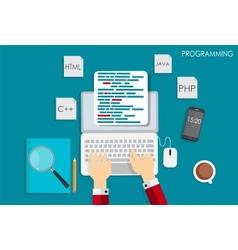 Programming coding flat concept vector