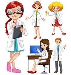 Scientists in white gown vector image
