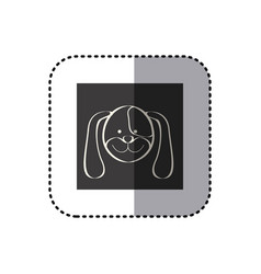 sticker of black background square with face of vector image