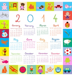 2014 kids toys Calendar vector image