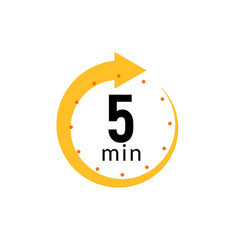 5 minutes clock quick number icon 5min time vector image