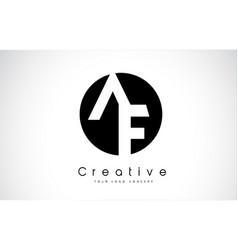 Af letter logo design inside a black circle vector