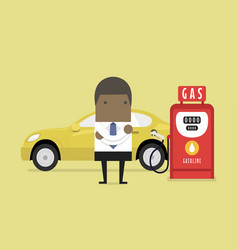 african businessman and gas station vector image