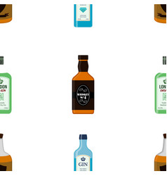 Alcohol bottles seamless pattern gin whiskey rum vector