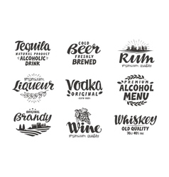 Alcoholic drinks Collection labels for menu vector