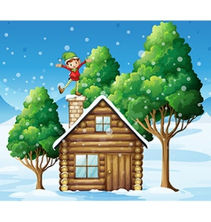 An elf above the wooden house near the trees vector image