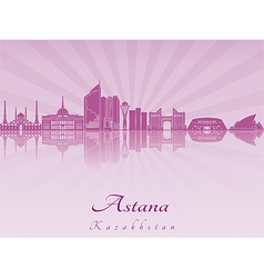 Astana skyline in purple radiant orchid vector