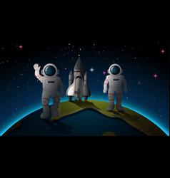 Astonauts and earth scene vector