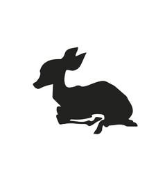 Baby deer lying silhouette vector