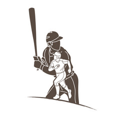 baseball players action cartoon sport graphic vector image