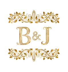 Bj vintage initials logo symbol letters b vector