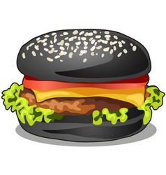 black big burger with cutlet of beef meat melted vector image