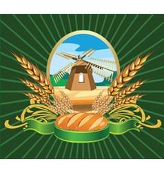 bread wheat label vector image