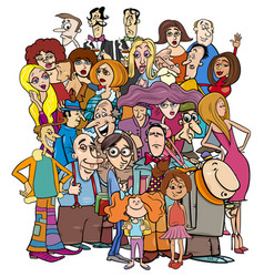 Cartoon people characters in the crowd vector