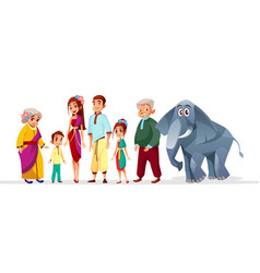 Cartoon thai family asian characters set vector