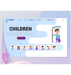 Children home page template flat style character vector