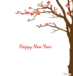 Chinese New Year card with cherry blossom vector
