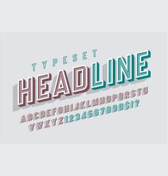 condensed original 3d retro display font alphabet vector image