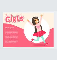 cute happy brunette girl smiling girls banner vector image