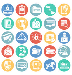Cyber security icons set on color circles white vector