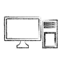 desk computer technology vector image
