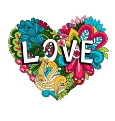 Doodle floral heart with Love lettering vector