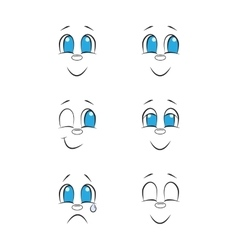 Emotions hand drawn faces doodle drawing set vector