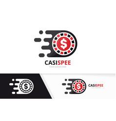 Fast casino logo combination speed chip vector
