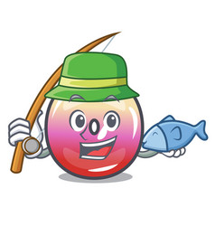 fishing jelly ring candy mascot cartoon vector image