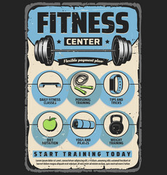 Fitness items gym equipment and sport exercises vector