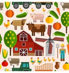 Flat Farm Pattern vector image