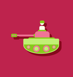 Flat icon design collection soldier on tank in vector
