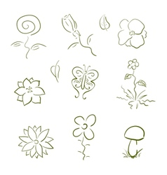 Flora and fauna design elements set vector image