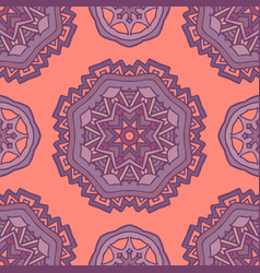 flower mandala circles ethnic seamless design vector image