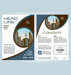 flyer corporate business with brown blue circle vector image