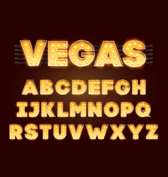 font with lamps gold light bulb broadway style vector image